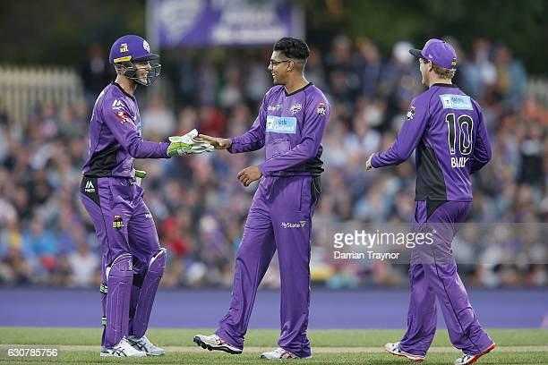Clive Rose of the Hobart Hurricanes celebrates the wicket of Kieron Pollard of the Adelaide Strikers during the Big Bash League match between the...