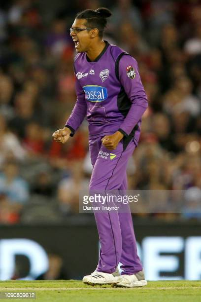 Clive Rose of the Hobart Hurricanes celebrates the wicket of Sam Harper of the Renegades during the Big Bash League match between the Melbourne...