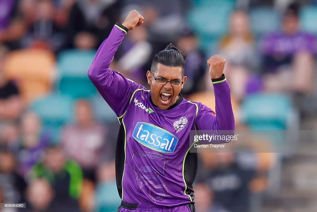 Clive Rose of the Hobart Hurricanes celebrates the wicket of Sam Heazlett of the Brisbane Heat during the Big Bash League match between the Hobart Hurricanes and the Brisbane Heat at Blundstone Arena on January 15, 2018 in Hobart, Australia.
