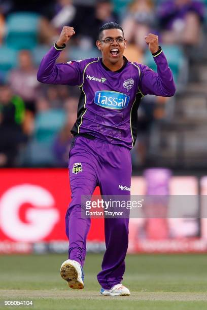 Clive Rose of the Hobart Hurricanes celebrates the wicket of Sam Heazlett of the Brisbane Heat during the Big Bash League match between the Hobart...