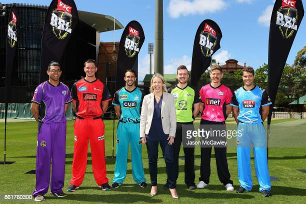 Clive Rose of the Hobart Hurricanes, Chris Tremain of the Melbourne Renegades, Josh Lalor of the Brisbane Heat, Kim McConnie Cricket Australia Head...