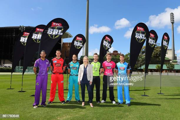 Clive Rose of the Hobart Hurricanes Chris Tremain of the Melbourne Renegades Josh Lalor of the Brisbane Heat Kim McConnie Cricket Australia Head of...