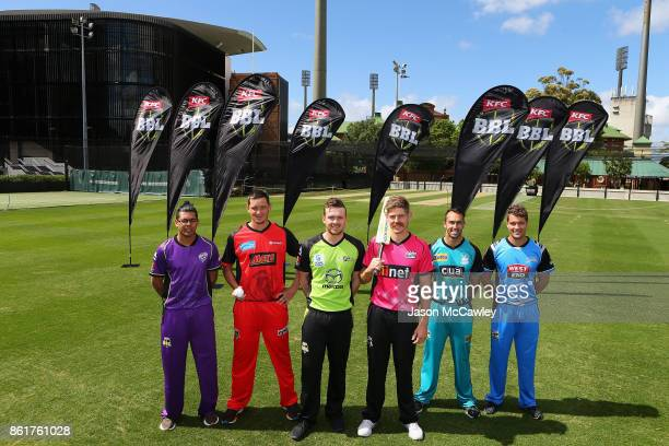 Clive Rose of the Hobart Hurricanes, Chris Tremain of the Melbourne Renegades, Ryan Gibson of the Sydney Thunder, Daniel Hughes of the Sydney Sixers,...
