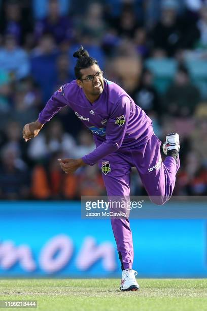 Clive Rose of the Hurricanes bowls during the Big Bash League match between the Hobart Hurricanes and the Perth Scorchers at Blundstone Arena on...