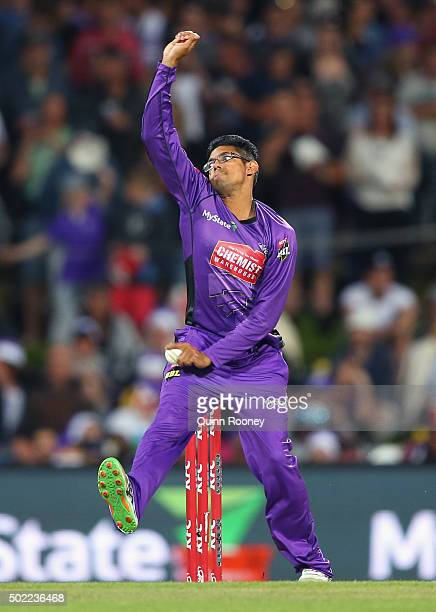 Clive Rose of the Hurricanes bowls during the Big Bash League match between Hobart Hurricanes and Brisbane Heat at Blundstone Arena on December 22...