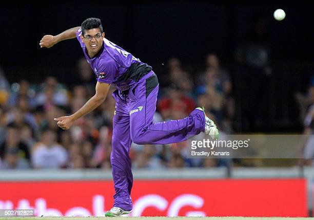 Clive Rose of the Hurricanes bowls during the Big Bash League match between the Brisbane Heat and Hobart Hurricanes at The Gabba on December 29 2015...