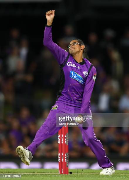 Clive Rose of the Hurricanes bowls during the Hurricanes v Renegades Big Bash League Match at Blundstone Arena on February 07, 2019 in Hobart,...