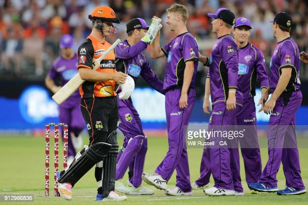 Clive Rose of the Hurricanes celebrates after taking the wicket of Hilton Cartwright of the Scorchers during the Big Bash League Semi Final match...