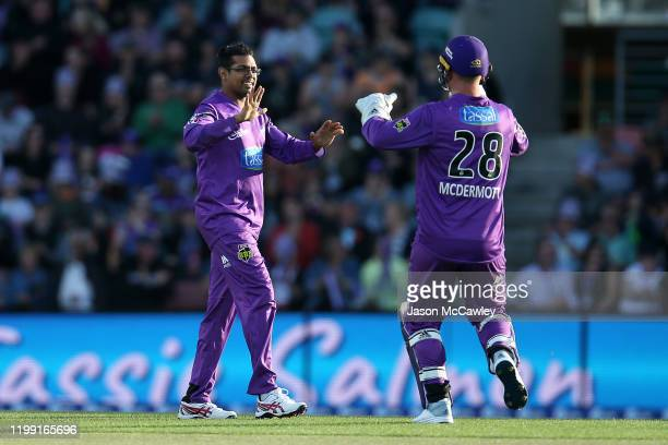 Clive Rose of the Hurricanes celebrates dismissing Sam Whiteman of the Scorchers during the Big Bash League match between the Hobart Hurricanes and...