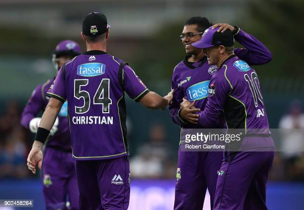 Clive Rose of the Hurricanes celebrates taking the wicket of Jason Roy of the Sydney Sixers during the Big Bash League match between the Hobart...