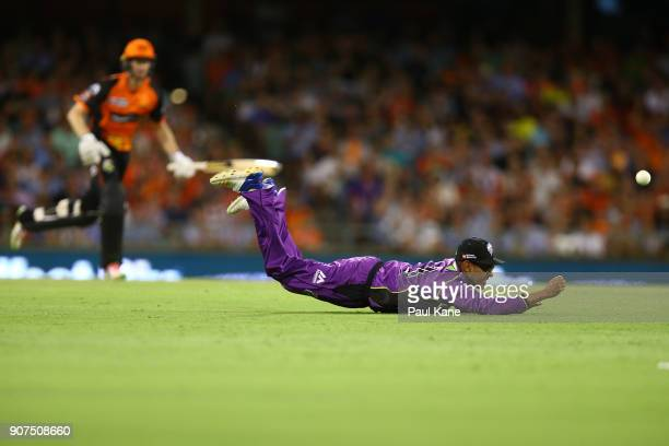 Clive Rose of the Hurricanes dives unsuccessfully for a catch during the Big Bash League match between the Perth Scorchers and the Hobart Hurricanes...