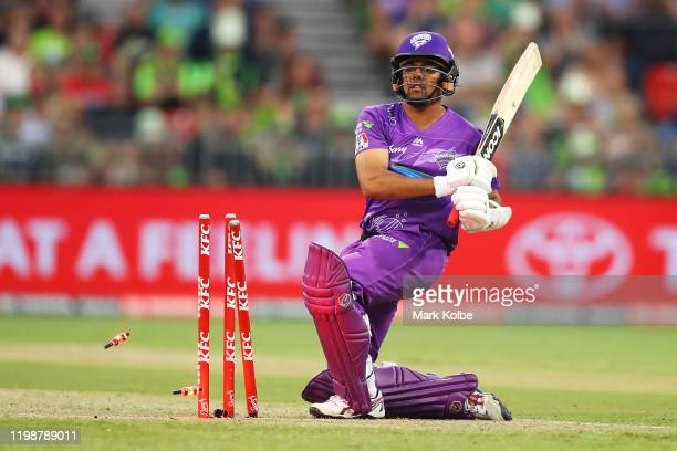 Clive Rose of the Hurricanes is bowled during the Big Bash League match between the Sydney Thunder and the Hobart Hurricanes at Sydney Showground...