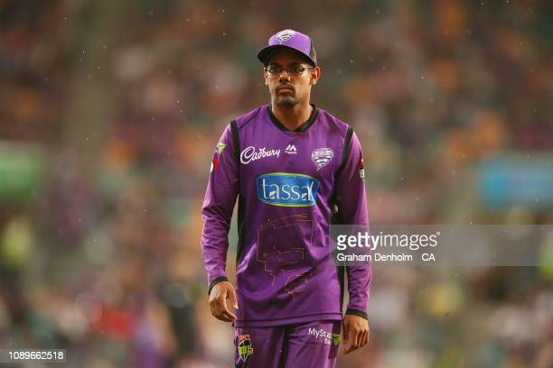 Clive Rose of the Hurricanes looks on during the Big Bash League match between the Hobart Hurricanes and the Sydney Sixers at Blundstone Arena on...
