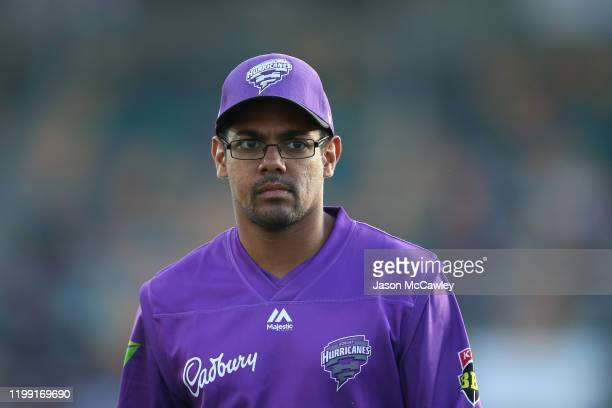 Clive Rose of the Hurricanes looks on during the Big Bash League match between the Hobart Hurricanes and the Perth Scorchers at Blundstone Arena on...