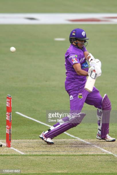 Clive Rose of the Hurricanes plays a shot during the Big Bash League match between the Hobart Hurricanes and the Adelaide Strikers at the University...
