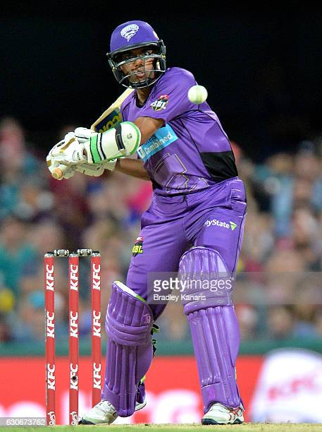 Clive Rose of the Hurricanes plays a shot during the Big Bash League between the Brisbane Heat and Hobart Hurricanes at The Gabba on December 30 2016...