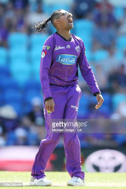 Clive Rose of the Hurricanes reacts after bowling during Hobart Hurricanes v Melbourne Stars Big Bash League Match at Blundstone Arena on December...