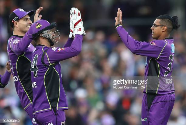 Clive Rose of the Hurricanes takes the wicket of Sam Heazlett of the Heat during the Big Bash League match between the Hobart Hurricanes and the...