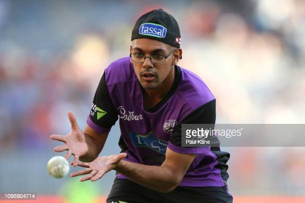 Clive Rose of the Hurricanes warms up before the Big Bash League match between the Perth Scorchers and the Hobart Hurricanes at Optus Stadium on...