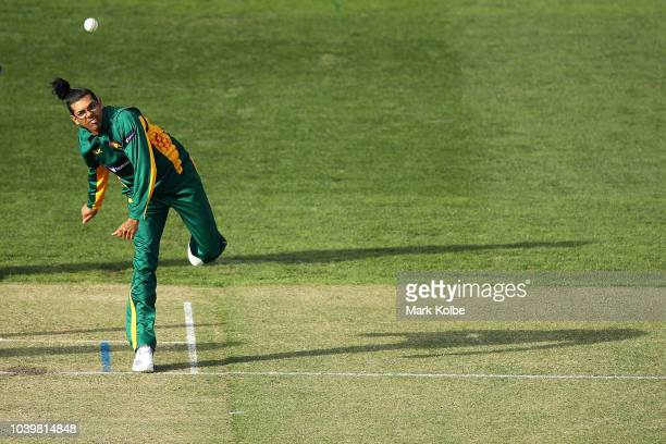 Clive Rose of the Tigers bowls during the JLT One Day Cup match between New South Wales and Tasmania at North Sydney Oval on September 25 2018 in...