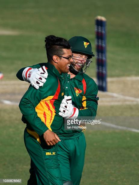 Clive Rose of the Tigers celebrates with Matthew Wade of the Tigers after the dismissal of Glenn Maxwell of Victoria during the JLT One Day Cup match...