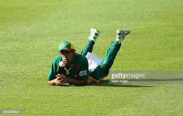 Clive Rose of the Tigers drops a catch during the Matador BBQs One Day Cup match between Tasmania and New South Wales at Hurstville Oval on October...