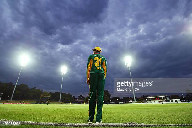 Clive Rose of the Tigers fields on the boundary during the Matador BBQs One Day Cup match between Tasmania and Western Australia at Drummoyne Oval on...