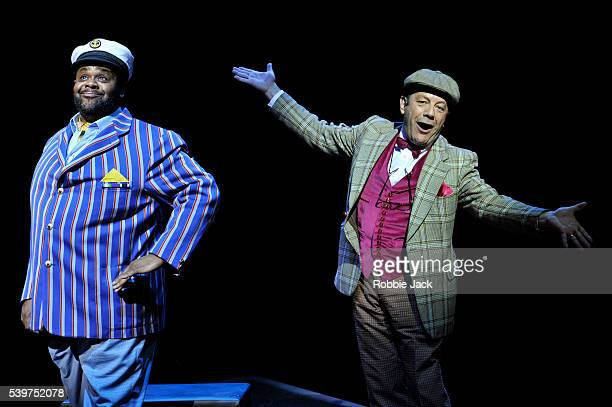 """Clive Rowe as Hucklebee and David Burt as Bellomy in the production """"Fantasticks"""" at the Duchess Theatre in London."""