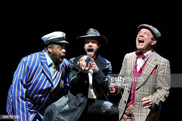 Clive Rowe as Hucklebee Hadley Fraser as El Gallo and David Burt as Bellomy in the production Fantasticks at the Duchess Theatre in London