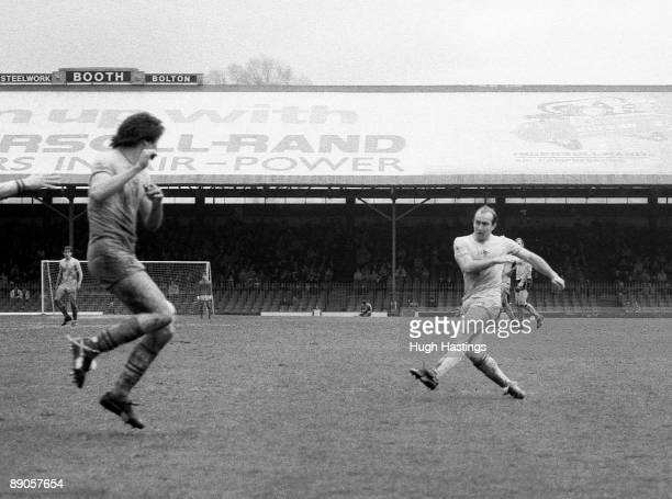 Clive Walker of Chelsea scores a vital winning goal during the English Division Two match between Bolton Wanderers and Chelsea held on May 7 1983 at...