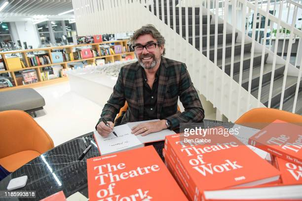Clive Wilkinson signs books during GLG Welcomes Architect Clive Wilkinson Author of The Theatre of Work at GLG on November 06 2019 in New York City