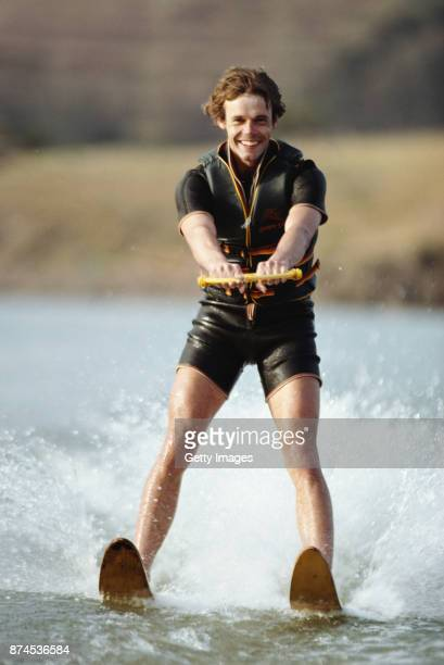 Clive Woodward of the British Lions waterskis during the British and Irish Lions tour to South Africa in 1980