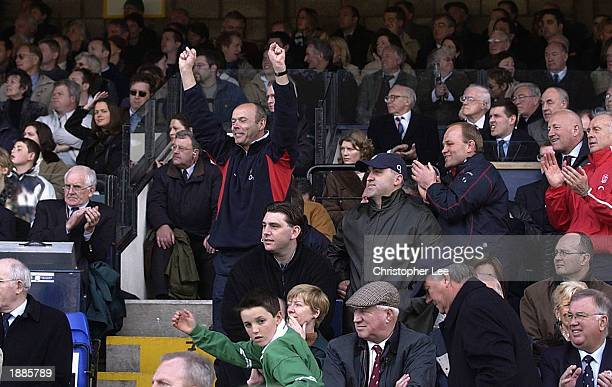 Clive Woodward the England Coach celebrates during the RBS Rugby Union International match between Ireland and England at Lansdowne Road Dublin...