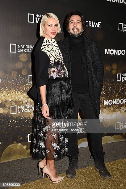 Clizia Incorvaia and Francesco Sarcina attend Fox Tv schedule presentation on November 30 2016 in Milan Italy