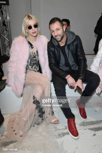 Clizia Incorvaia and Marco Carpentieri attend the John Richmond show during Milan Menswear Fashion Week Autumn/Winter 2019/20 on January 13, 2019 in...