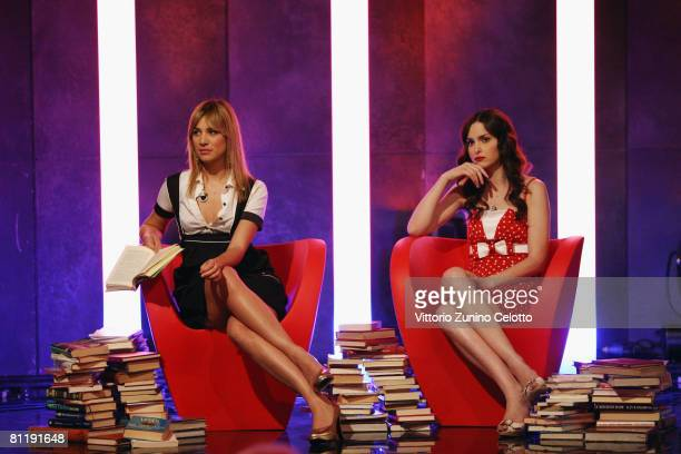 Clizia Incorvaia and Paola Fiorido attend the Markette TV Show held at LA7 Studios on May 21, 2008 in Milan, Italy.