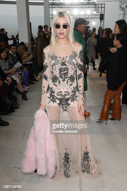 Clizia Incorvaia attends the John Richmond show during Milan Menswear Fashion Week Autumn/Winter 2019/20 on January 13, 2019 in Milan, Italy.