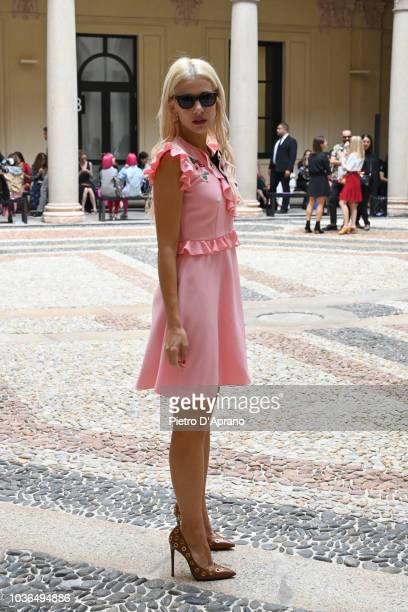 Clizia Incorvaia attends the Vivetta show during Milan Fashion Week Spring/Summer 2019 on September 20 2018 in Milan Italy