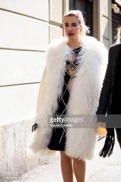 Clizia Incorvaia is seen outside Laura Biagiotti on Day 5 Milan Fashion Week Autumn/Winter 2019/20 on February 24 2019 in Milan Italy