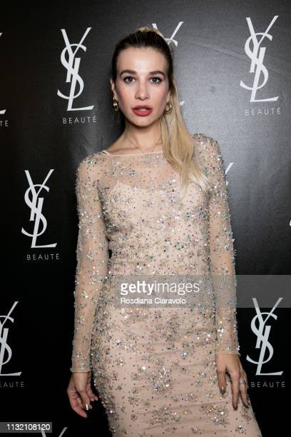 Clizia Incorvaia poses at the YSL Beauty Club Milan during Milan Fashion Week Autumn/Winter 2019/20 on February 24 2019 in Milan Italy