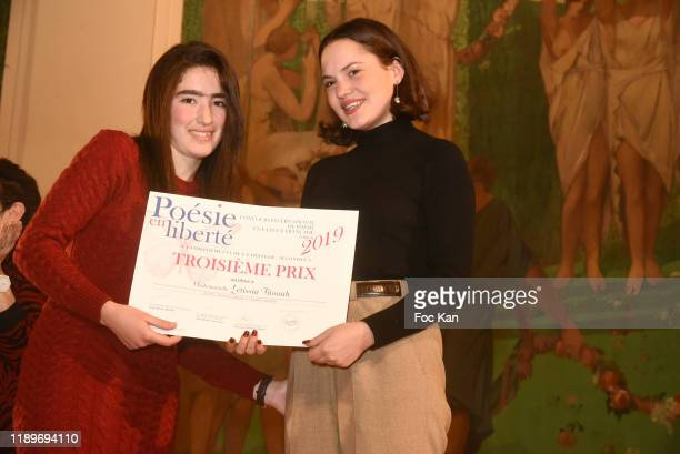 Clémence Boisnard awards a Poesie En Liberté competitor during Poesie En Liberté 2019 Awards Ceremony At Mairie Du 5eme on November 23 2019 in Paris...