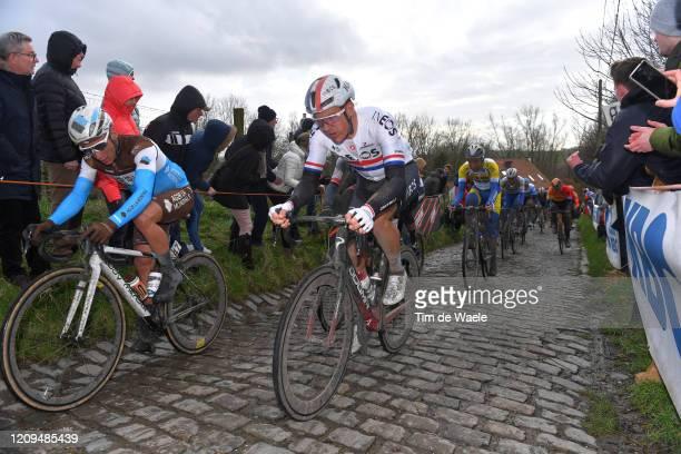 Clément Chevrier of France and Team AG2R La Mondiale / Ben Swift of United Kingdom and Team INEOS / Molenberg / Cobblestones / Fans / Public / during...