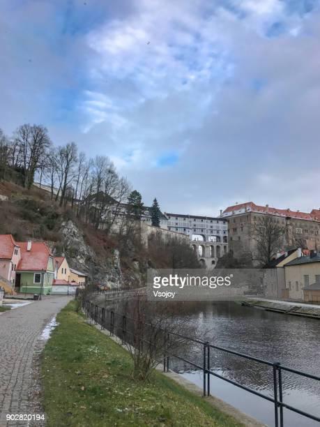 cloack bridge on the vltava river, český krumlov, czech republic - vsojoy stock pictures, royalty-free photos & images