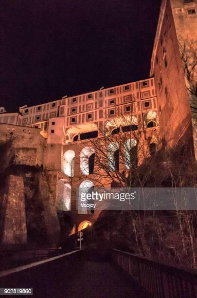 cloak bridge at night, český krumlov castle, czech republic - vsojoy stock pictures, royalty-free photos & images