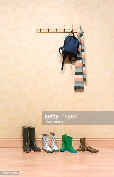Cloakroom scarf boots and bag