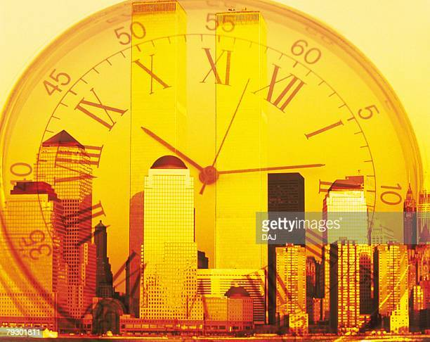 Clock and high-rise buildings in New York City, NY, USA, CG, composition, toned image