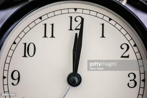 clock at midday or midnight