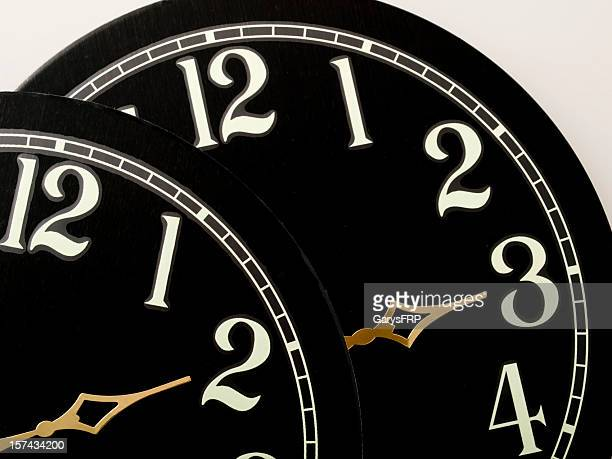 Clock Black Faces showing Time Change Gold Hands Light Numbers