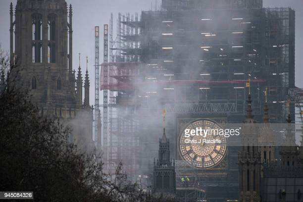 Clock face on Elizabeth Tower, commonly known as Big Ben, is seen without its hour and minute hands as conservation work continues on the Houses of...