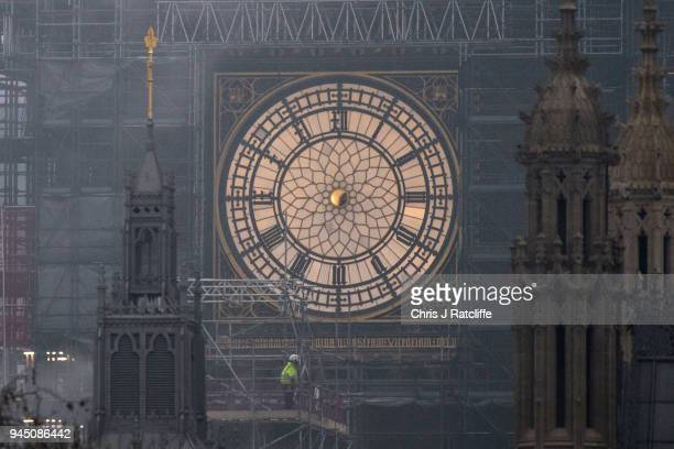 A clock face on Elizabeth Tower commonly known as Big Ben is seen without its hour and minute hands as conservation work continues on the Houses of...
